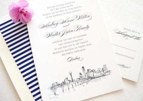Wedding Invitations Dallas: Dallas Skyline Hand Drawn Wedding Invitation Package Sold