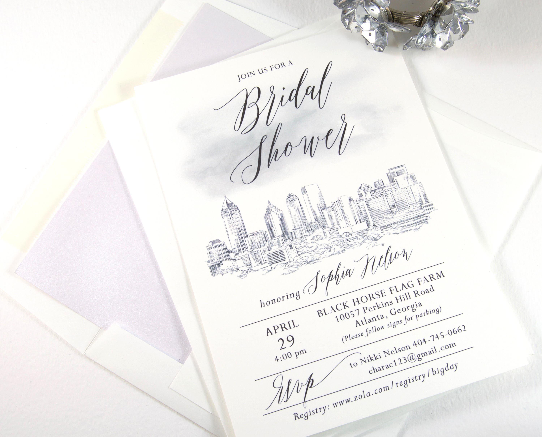 Atlanta Skyline Bridal Shower Invitations Watercolor Atlanta | Etsy