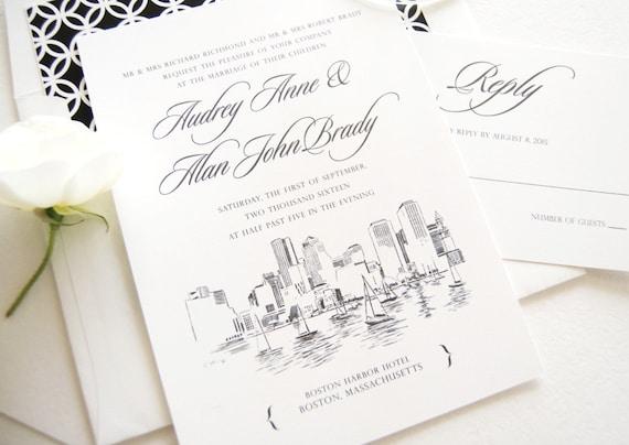 Boston Skyline Hand Drawn Wedding Invitation Boston Wedding | Etsy