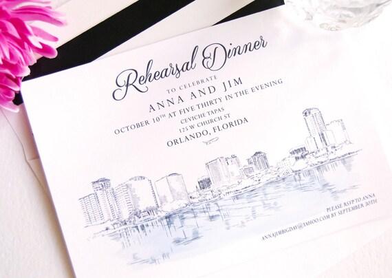 Orlando Skyline Rehearsal Dinner Invitation Hand Drawn Set Of 25 Cards