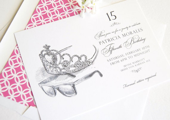 quinceanera invitation sweet 16 invitations princess party etsy