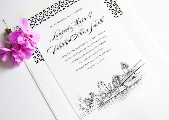Cincinnati Skyline Wedding Invitation Cincinnati Wedding Etsy