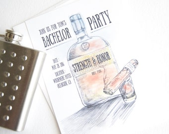 Bachelor Party Invitations Bourbon and Cigar Watercolor , Birthday Party (set of 25 cards and white envelopes)