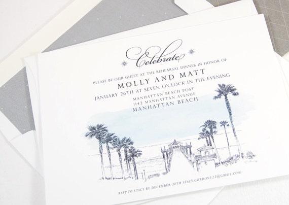 set of 25 cards Detriot Skyline Rehearsal Dinner Invitation Cards