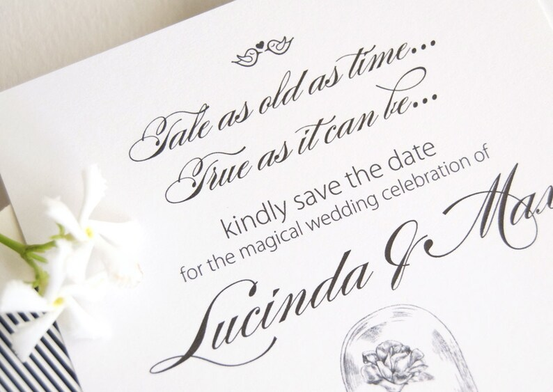 Beauty and the Beast Save the Dates Save the Date Bridal Shower Invitations Disney Wedding 25 cards Princess Fairytale Wedding