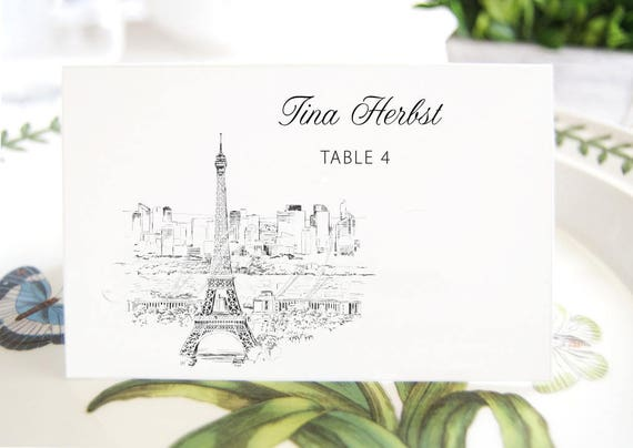 Paris Skyline Folded Place Cards Blank French Themed Wedding Etsy