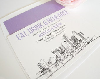 Miami Skyline Rehearsal Dinner Invitations (set of 25 cards)