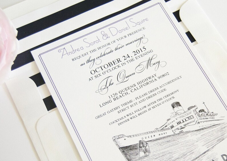 Long Beach Queen Mary Skyline Wedding Invitations Package Etsy