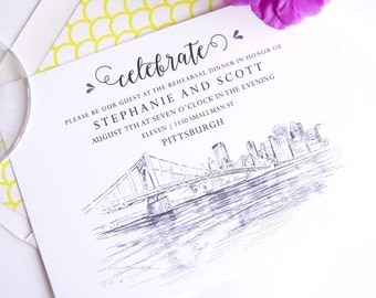 Pittsburgh Skyline Rehearsal Dinner Invitations (set of 25 cards)