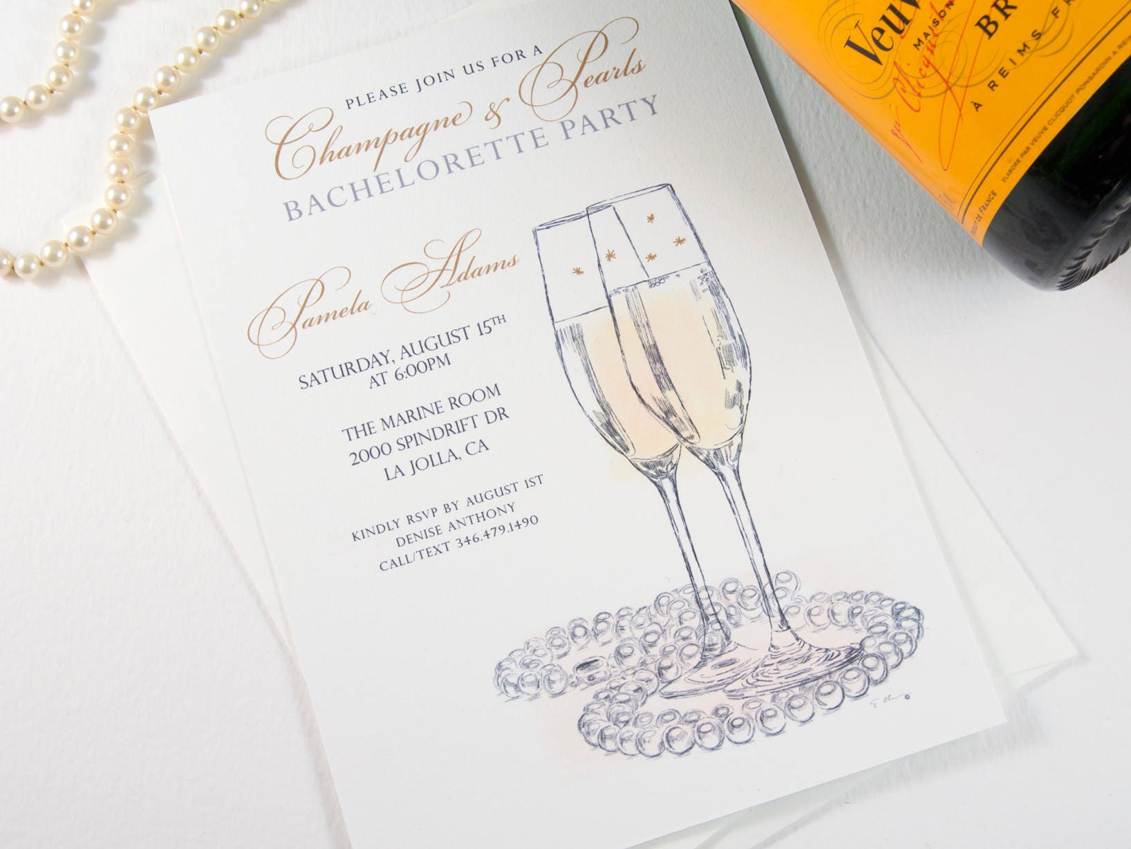 Bachelorette Party Invitations Champagne and Pearls