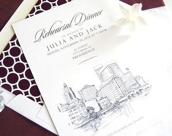Providence Skyline Rehearsal Dinner Invitations (set of 25 cards)