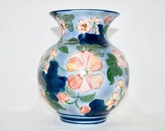 Vintage Vase, Blue Floral Vase, Cobalt Blue Vase, Blue Flower Vase