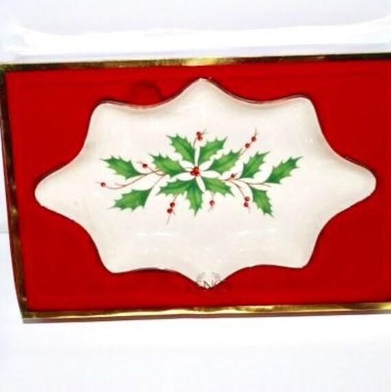 Lenox Christmas.Lenox Christmas Holly Candy Dish