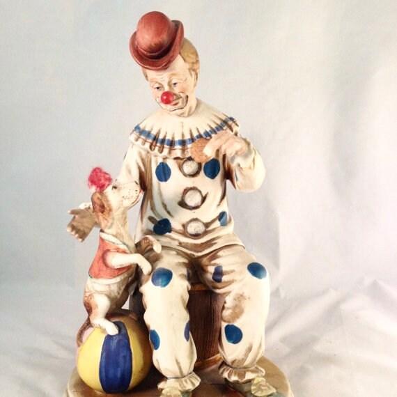 Vintage Napco Clown Porcelain Napcoware Clown and Dog  8a7c05cd841