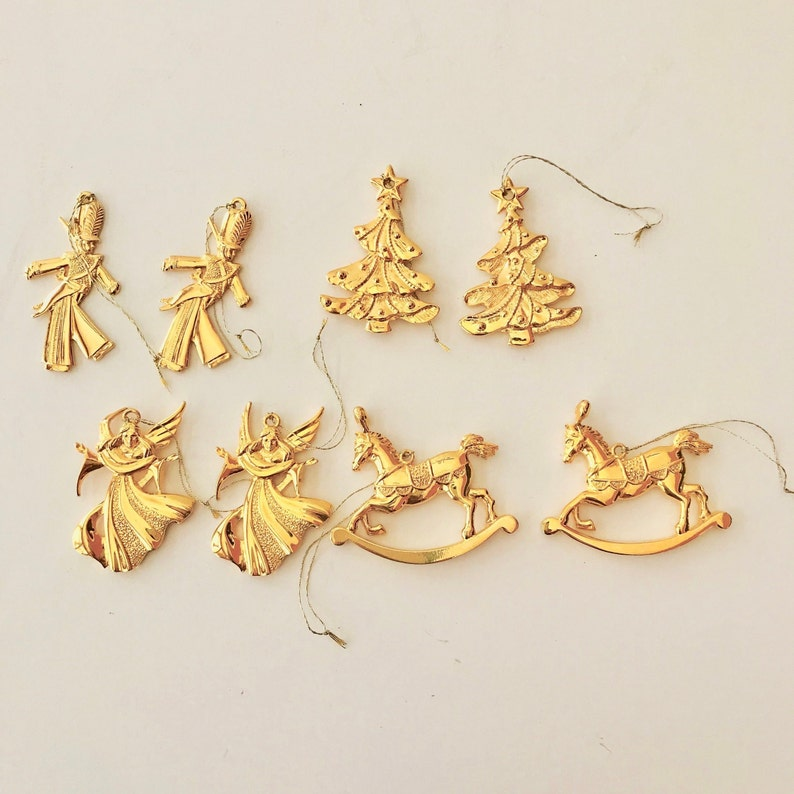 Christmas Ornaments Gold Tone Eight Gold Ornaments Christmas Gold Tone Ornaments