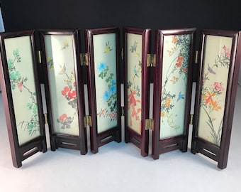 Sale, Chinese, Asian Miniature Silk Screen,  Miniature Oriental Wood Screens, Hinged, Six Panels, Birds, Flowers, Landscape Silk,