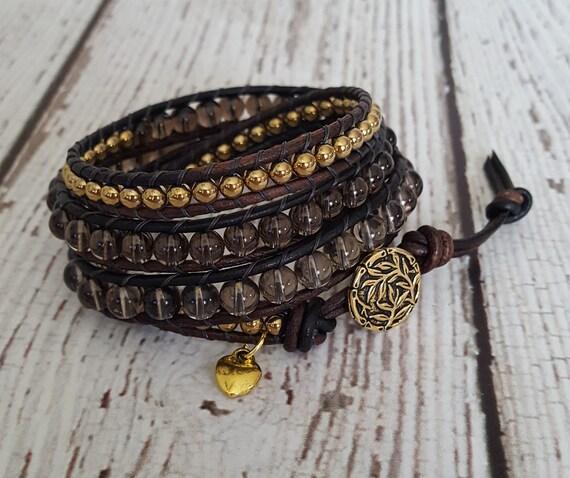 Festival Jewelry Charm Bracelet x3 Boho Wrap Bracelet Beaded Gemstone Jewelry Smokey Quartz /& Gold Hematite Wrap Bracelet Yoga Jewelry