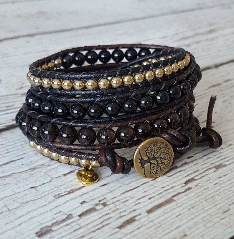 x4 Beaded Wrap Bracelet Tree of Life Boho Chic Wrap Bracelet Black Tourmaline /& Gold Hematite Wrap Bacelet Smokey Quartz Charm Bracelet
