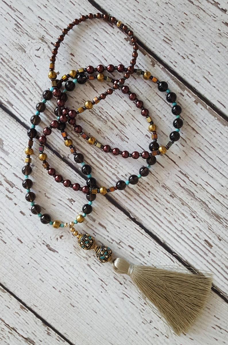 Yoga Necklace Long Tassel Necklace Pearl Boho Chic Tassel Necklace Hematite Smokey Quartz Boho Silk Tassel Necklace Beaded Necklace
