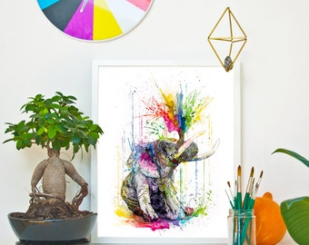 ELEPHANT - RAINING COLOURS *Limited Edition Giclée Print on Watercolour Paper - 300gsm.