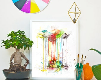 TOAD - RAINING COLOURS *Limited Edition Giclée Print on Watercolour Paper - 300gsm.