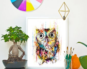 TINY_OWL  - RAINING COLOURS *Limited Edition Giclée Print on Watercolour Paper - 300gsm.