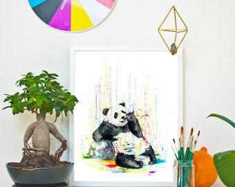PANDA- RAINING COLOURS *Limited Edition Giclée Print on Watercolour Paper - 300gsm.