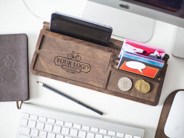 wooden desk organizer engraved desk accessories personalized etsy