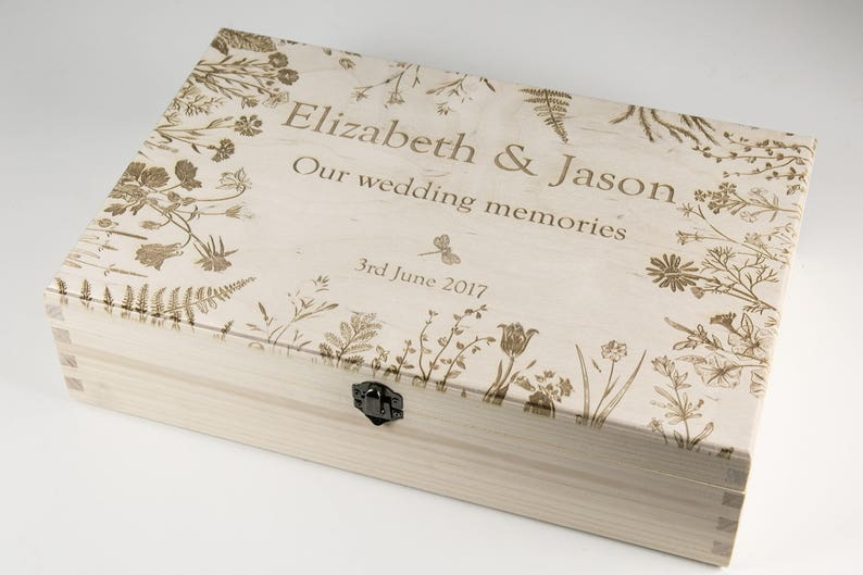 Wedding Keepsake Box Personalized Wedding Memory Box Botanical Vintage Style Wedding Card Box Anniversary Gift For Couples