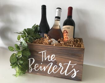 2bdcb13c9d2a0 Custom Personalized Calligraphy Last Name Wooden Wine Box Basket