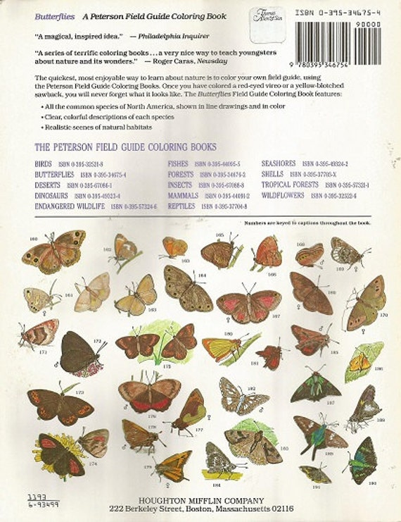 Vintage PETERSON FIELD Guide Coloring Book BUTTERFLIES