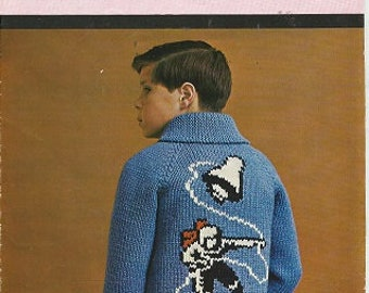 Vintage MARY MAXIM Graph Style Knitting  Pattern Leaflet -  No. 4014 - ASTRONAUT Cardigan - Sizes 8-10-12 Years