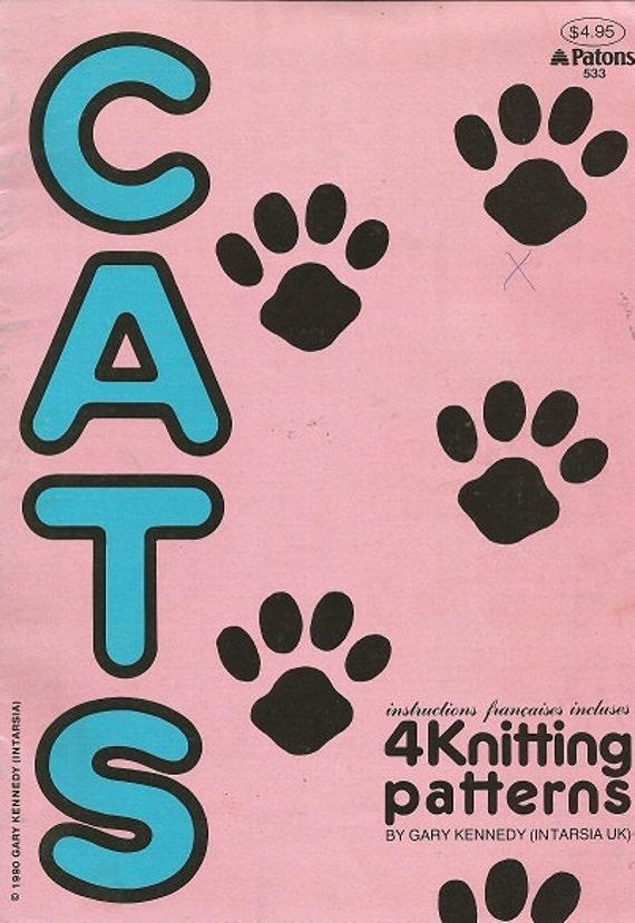 Vintage tejer a patrón folleto gatos los Patons cara de | Etsy