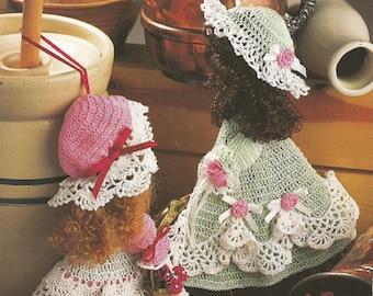 "CROCHET SUNBONNET Broom DOLLS Pattern - 1994 Annie's Attic - Approx. 12"" Tall - Lacy Designs - Designs by Maggie Weldon"