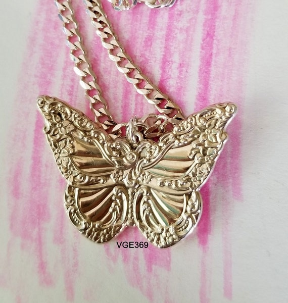 Antique Designer WALLACE Motif Floral Butterfly Sterling Silver Pendant