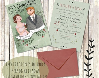Custom wedding Invitation printable. Personalized Wedding Invitation