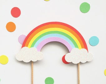 Rainbow cake topper - rainbow party decor