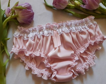292c870d5a44 Pink Silk Ruffled Panties - Handmade