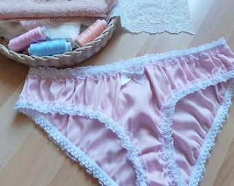 f1586a74e084 Silk Panties, Women Sleepwear, Silk Sleepwear, Pink Silk Knickers with White  Lace