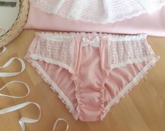de6161e94438 Women Sleepwear, Silk Sleepwear, Pink Silk Panties with White Lace Insert  Handmade, Silk Knickers