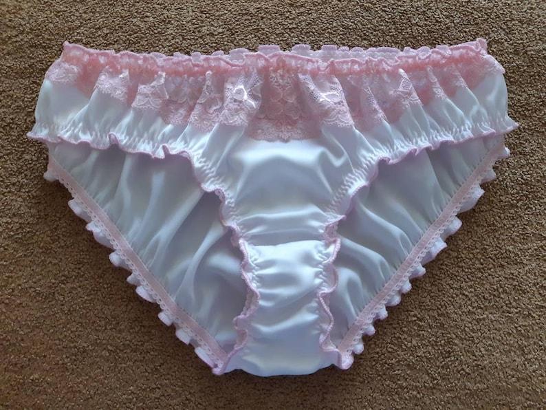 febcc0acdbe9 White Silk Pink Lace Ruffled Panties Handmade Silk | Etsy