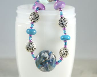 Lampwork Necklace, Lampwork Jewelry, Lampwork Focal bead necklace, Free Shipping, Item #612