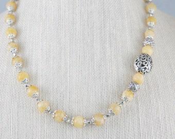 Yellow Gemstone Necklace, Yellow Jewelry, Yellow Calcite Jewelry, Yellow Gemstone earrings, Free Shipping, Item # 373