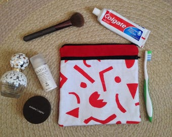 Geometric Print Toieltry Bag - Wet Pack - Overnight Bag - Cosmetic Bag - Wash Bag