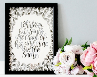 Hand Painted Wuthering Heights Framed Quote, Wuthering Heights Quote Print, Wuthering Heights Print, Wuthering Heights Art, Literary Gift