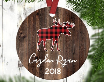 Children's Christmas Ornament.Holiday Ornament.Gifts Under 20.Kids' Christmas Ornament.Buffalo Plaid.Moose Ornament