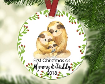 New Mommy & Daddy.Family Christmas ornament.Christmas ornament.Gift idea.Cheap gift.Christmas Gift.Personalized gift.Custom ornament