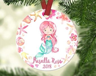 Girl's Christmas ornament.Mermaid Ornament.Christmas ornament.Personalized Christmas ornament.Girls Christmas Gift.Girls Mermaid Gift