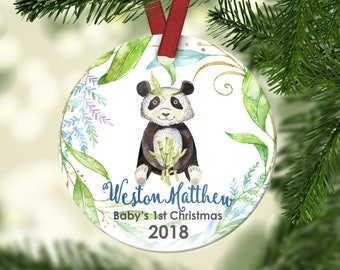 Baby's First Christmas Ornament.Panda Christmas Ornament.Boy's Christmas Ornament.Panda Bear.Personalized christmas ornament
