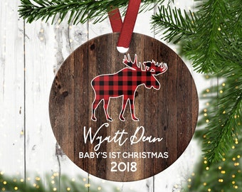 babys first christmas ornamentholiday ornamentgifts under 20kids christmas ornamentbuffalo plaidmoose ornament